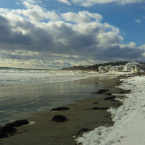 winter beach with sky
