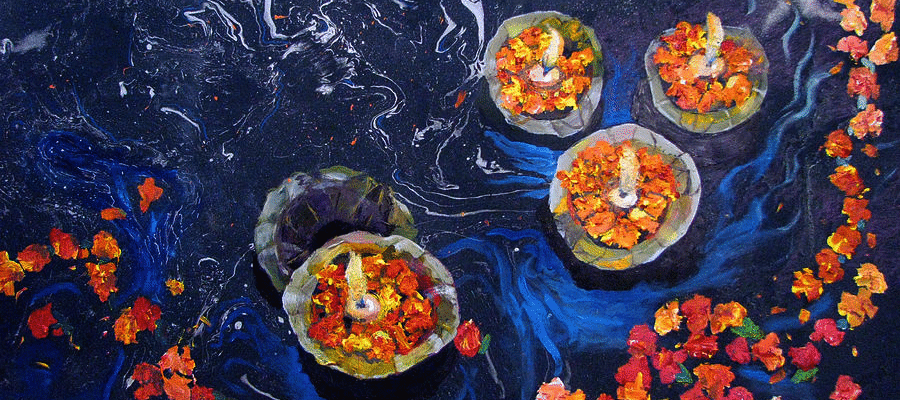 offerings on the ganga